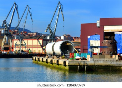 Working in the giant pipe at the port