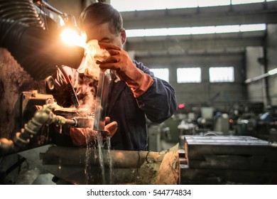 Working in gloves with industrial machines