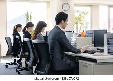Working group of businessperson in office.
