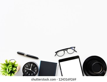 Working with Laptop computer,Smartphone and cactus copy space on modern table background.Top view,Flat lay,style Minmal workspace,business Concept