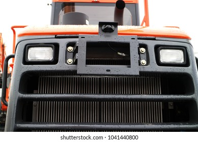 The working light of a modern tractor. Lighting equipment of a modern tractor.
