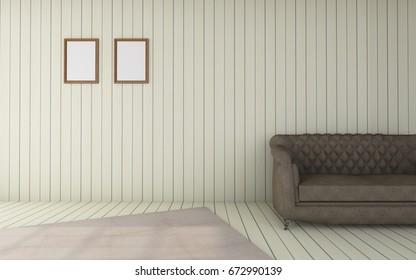 Working and living Room set modern Luxury vintage / 3D rendering