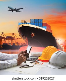 working man and container ship for logistic and transport business