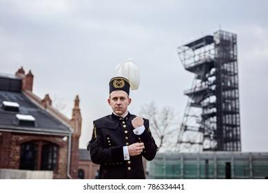 Working man foreman miner in gala parade uniform. Polish miner, Katowice, Silesia, Poland