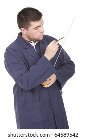 working man  with a tape-measure and pencil
