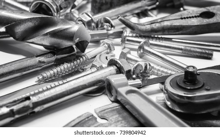 Working metal tools of silver color on the background
