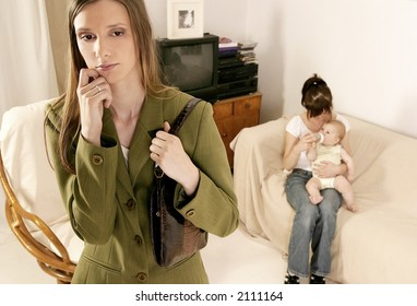 working mother leaving a baby at home with a babysitter