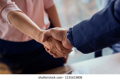 Working negotiations. Male and female shaking hands on business deal. Toned concept.