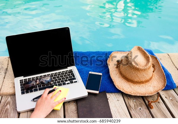 Working next to the pool