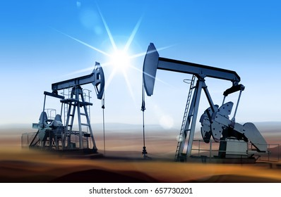 Working oil pumps in desert place of Middle East