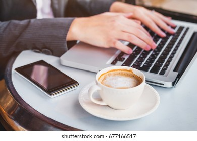 working on computer online, woman checking email on laptop in cafe, social network or internet concept