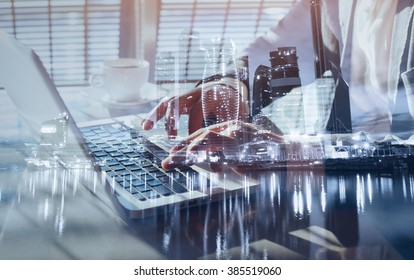 working on laptop, close up of hands of business man, double exposure