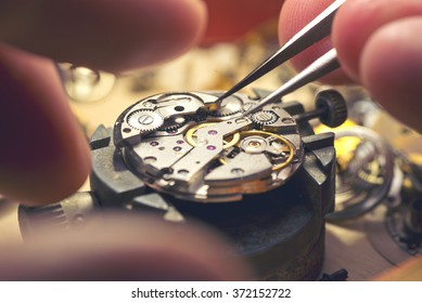 Working On A Mechanical Watch.