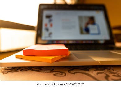 Working on a presentation at home - freelance and school home work | Modern laptop and workstation - Abu Dhabi, UAE, June 22, 2020