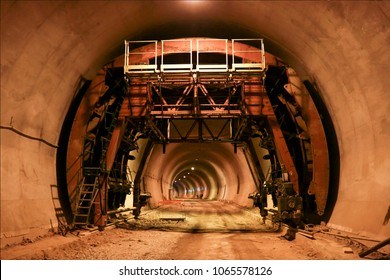 Working on the tunnel. Tunnel construction site