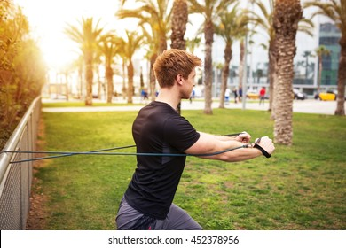 Working out with resistance band