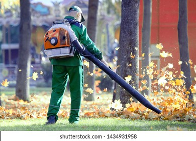 Working in the Park removes leaves with a blower. social workers of city services