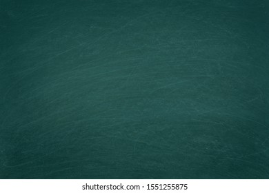 Working place on empty rubbed out on green board chalkboard texture background for classroom or wallpaper, add text message.