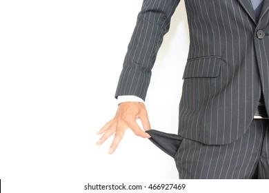 Working poor!! A man having no money in his pocket.