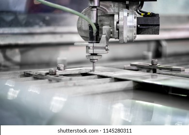 Working process cutter high precision parts by waterjet cutting machine in industrial factory