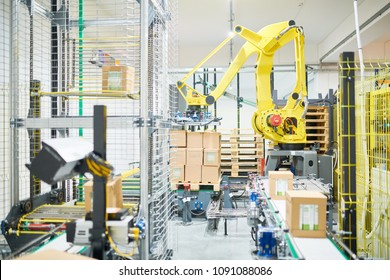 Working process at modern packaging department of plant: pile of cardboard boxes, automatic wrapping equipment, conveyor belt
