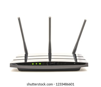 Working router with powering lights and internet connection status isolated on white background. Wireless device with antenna Wi-Fi wireless, broadband