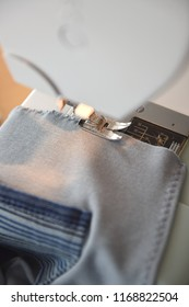 Working sewing machine closeup