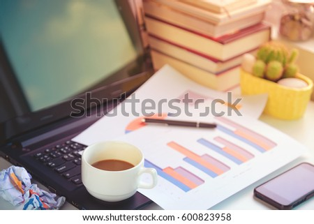 Working Smartphone Laptop Diagram Paper Cup Coffee Stock Photo Edit