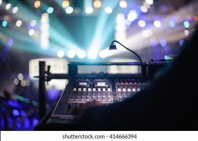 Working sound control panel on  background of the stage