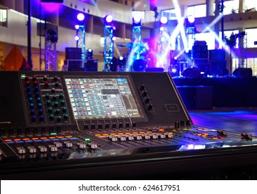 Working sound control panel on background of stage