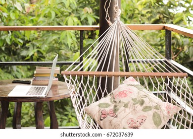 Working space at the balcony with a hammock - Vintage light  filter