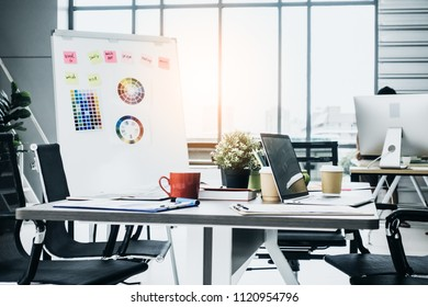 working space creativity brainstorm with meeting table amd chair with paper document and paper chart color