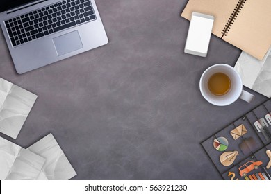 working stuff laptop notebook coffee cup and paper note with free copyspace for your text