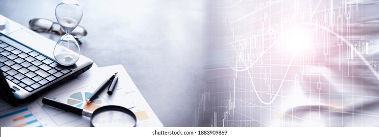 Working time symbolizes an hourglass. Office desk with insurance manager and banker. Office employee at the table. The concept of lack of time. - Shutterstock ID 1883909869