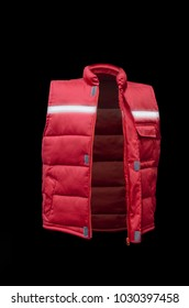 working uniform, red vest with protective reflective tape