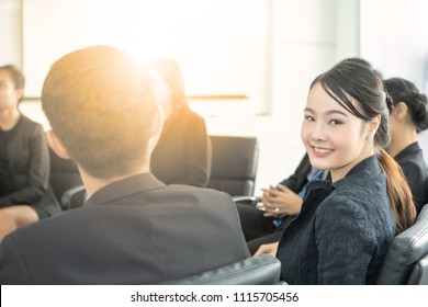 Working woman in a business meeting team at a conference room.
