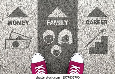 Work-Life Balance Between Money, Family And Career. Equal time for personal and professional life.