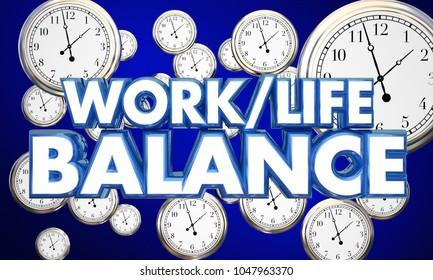 Work-Life Balance Clocks Spend Time Wisely 3d Illustration