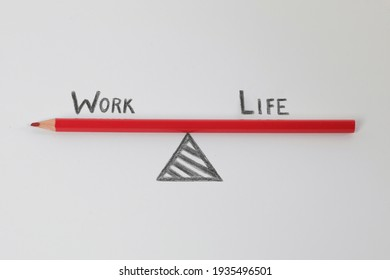 Work-Life-Balance. Work life balance diagram drawn using red pencil