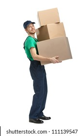 Workman delivers three boxes, isolated, white background