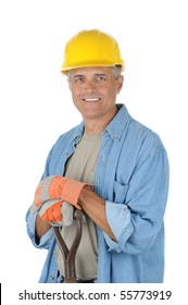 Workman holding onto the handle of his shovel. Man is wearing a hard hat and smiling at the camera. Isolated over white in vertical format.