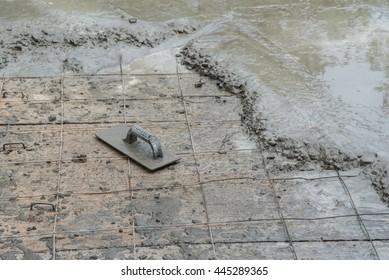 Workman plaster at construction site