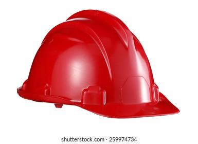 workman red safety helmet