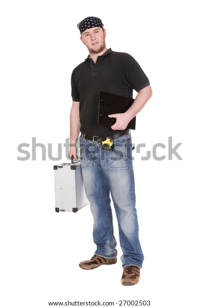 workman with tools over white background
