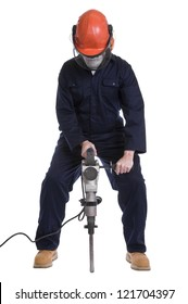 workman using pneumatic drill isolated on white background