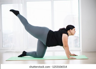 workout, fitness, active lifestyle, health. overweight woman training legs and loin during home workout