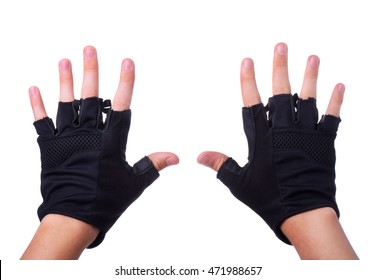 Workout fitness black fingerless leather gloves on man hands isolated on white background