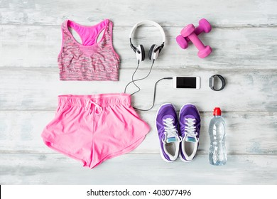 Workout objects on the floor