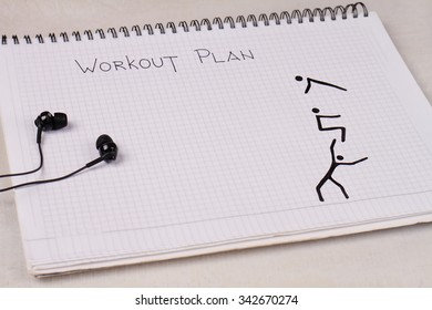 Workout plan, copy space image.  Fitness, sport challenge background