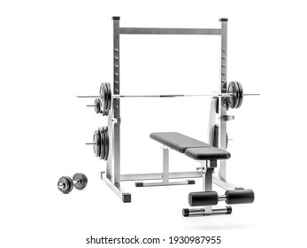 Workout weight bench with dumbbells shot on white background